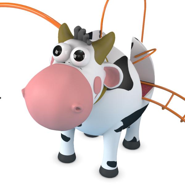 Deze koe is een van de professionele speeltoestellen van AmusementProf.